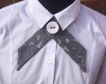 Sewing Bee print grey crossover necktie