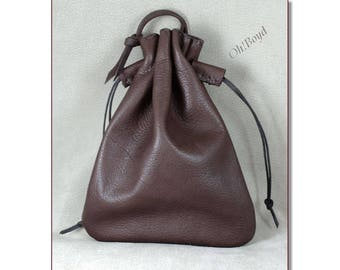 Leather Ammo or Money Bag, Double Drawstrings with Matching Slide Stops, 3 sizes, 7 Colors