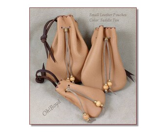 Small Drawstring Pouches, Saddle Tan - Soft Strong Leather Stitched by Hand, 3 Sizes Left, Limited Number - Gift Packaging, Collection, Dice