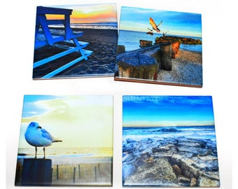 Beach Coaster Set of 4 / Beautiful Blue Colorful Coasters / Beach House Decor Drink Coasters / Beach Gift / Tile Drink Coasters