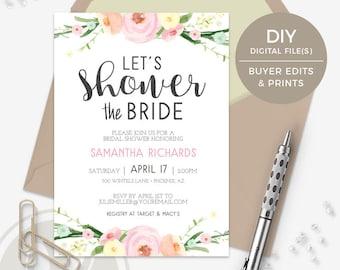 Floral Bridal Shower Invitation - Instant Download, Watercolor Invitation, Printable Invitation, PDF Template, Shower the Bride