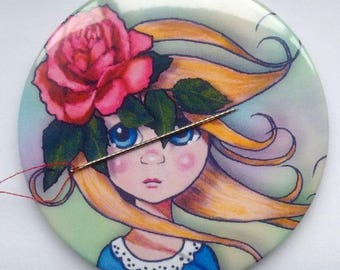 "Needle Minder, Big Eyed Girl with Pink Rose in Her Hair, Surreal Art, Needle Holder, Sewist or Seamstress Gift, 3"" Magnetic Needle Nanny"