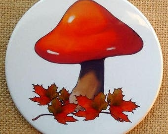 "COASTERS: Set of Four Drink Coasters, 3.5"", Created From Original Art, Red Toadstool and Maple Leaves, Fall, Autumn, White Background"
