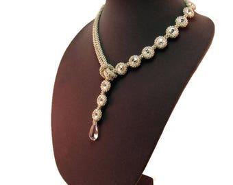 Necklace Angelique, Bezeled Crystal Necklace, Swarovski Faceted Pendant Necklace, Little Black Dress Necklace, Designer Pendant Necklace