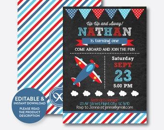 Instant Download, Editable Airplane Birthday Invitation, Airplane Invitation, Airplane Party Invite, Pilot Invitation, Chalkboard (CKB.93)
