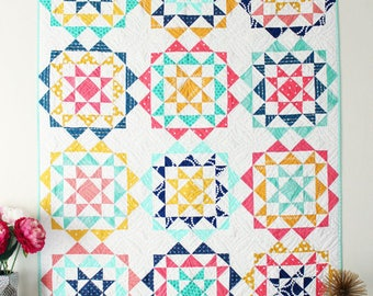 """Rhinestones Quilt kit by Hello Melly Designs Finished quilt 48.5"""" by 64.5"""" Kit includes fabrics for the top and binding"""