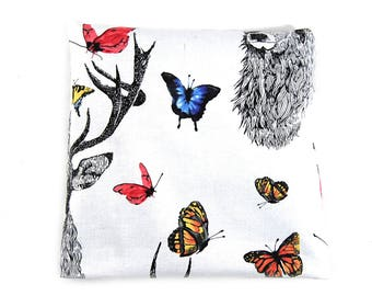 "Heating pad in cherry pits 20 x 20 ""deer and Butterfly"""