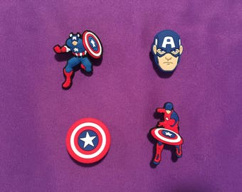 4-pc Captain America Shoe Charms for Crocs, Silicone Bracelet Charms, Party Favors, Jibbitz