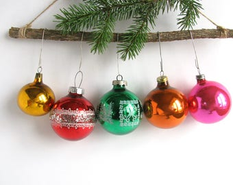 5 Balls, Soviet Christmas tree decorations, Set of 5  Glass ornaments, Christmas baubles, New Year, USSR, Soviet Union, 1970s