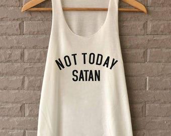 Not today Satan Shirt - Jesus Shirt - Satan Shirt - Satan Tank Top - TShirts off white Tank Top Womens