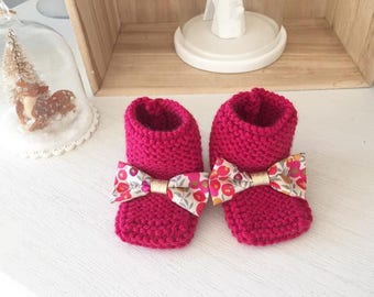Bottons / fuschia and node Liberty Wiltshire tea neon wool baby shoes
