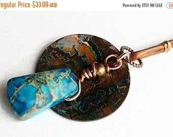XMASINJULY Gemstone necklace, patina jewelry, jasper necklace, verdigris jewelry, blue patina, boho necklace, wire-wrapped, OOAK copper neck