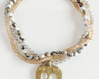 Africa Inspired Multi Strand Grey and Brass Necklace