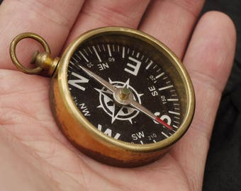 Old Hand Held Brass Compass