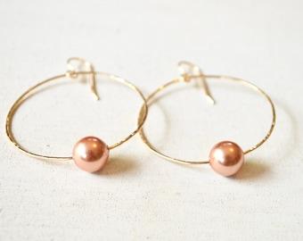 Pearl hoop earrings, Rose pearl earrings, Gold hoop earrings, Large gold hoops