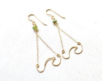 Wave Earrings Gold, Dangling Wave Earrings, Ocean Wave Earrings, Beachy Earrings