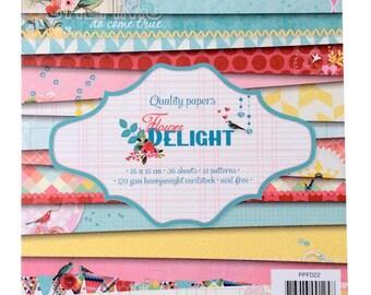 "Paper pad ""Flower delight"" - creative Scrapbook Paper."