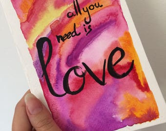 """Map """"all you need is love"""" greeting card"""