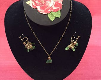 Green Jade and Goldtone Necklace and Earring Set, Circa 1950