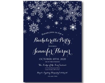 Winter Bachelorette Party Invitations, Winter Snowflakes, Winter Invitation, Snowflake Invitation, Bachelorette Party Invite #CL109