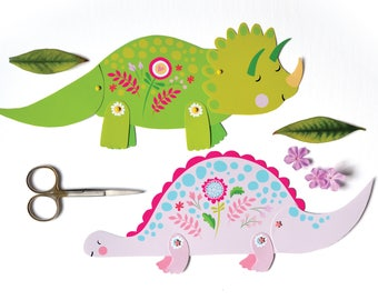 4 Articulated Paper Dinosaur Dolls, Instant DIY Download - Dinosaur Crafts, Dinosaur Party, Pink Dinosaur