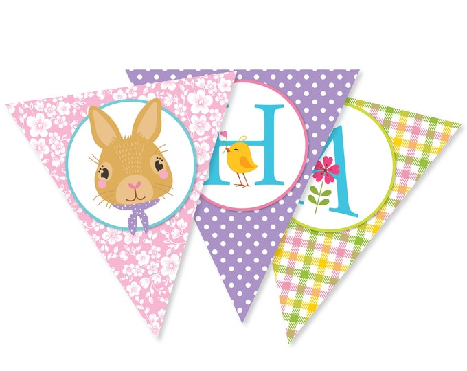 Happy Easter bunting/banner/garland / Easter bunting Instant Download, Printable DIY, Bunnies, Chicks and Flowers