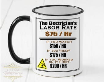 Electrician Mug - electrician gift - Dishwasher safe - Microwave Safe - Electrician's Rates Chart - Handyman gift - Gift for Electrician