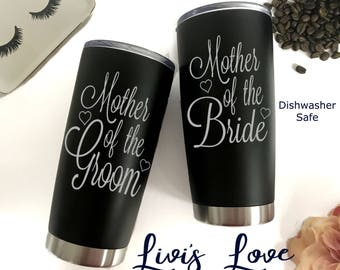Mother of the Bride Groom Mugs Engraved stainless steel Black 20 oz Vacuum Insulated Travel Tumbler Unique Dishwasher safe Cup