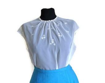 1950's Sheer Blouse // Vintage White Sleevless Nylon Blouse // Back Fasten Top VLV Rockabilly // Volup UK Size 18
