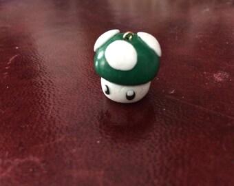 Super Mario mushroom Keychain green polymer clay