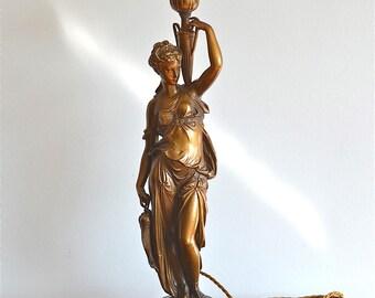 Original Art Nouveau fisher lady table light figural lamp circa.1910