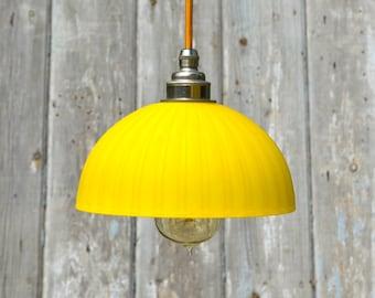 Small vintage handmade Italian yellow glass shade with nickel E27 fitting