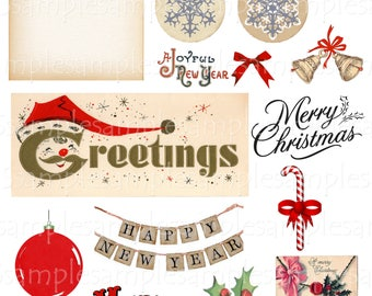 Vintage Christmas clipart Christmas vector Digital Collage Sheet Christmas PNG  JPEG  -Instant Download  Scrapbook Paper Christmas
