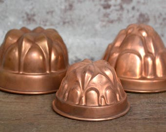 old pudding molds, old copper forms, copper mold, copper pudding mold, copper forms, italian copper form, copper bakeware, copper bakeware