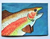 "Rainbow Trout #253 - ARTIST TRADING CARD - by Mike Kraus 2.5 "" x 3.5"" - home decor wall art house aceo gift fish animal card colorful fun"
