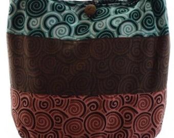 Hobo bag, Swirl print Boho bag,  Hippie, Hippy, Shoulder bag, Sling bag, Thai bag, Gypsy purse, Boho crossbody bag
