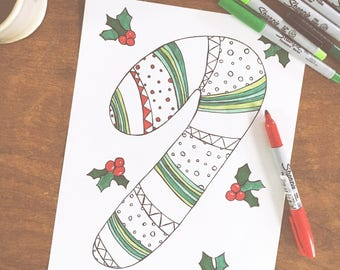 Candy Cane colouring page, digital download