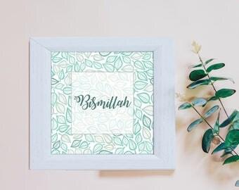 Islamic Wall Art Print - Bismillah Teal Leaves White (unframed) - Home Decor Muslim Gift - Eid Gift