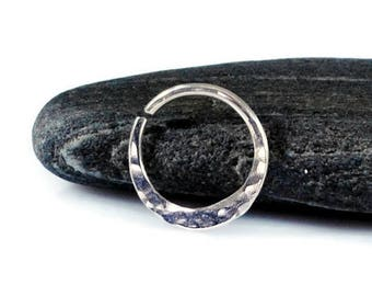 Hammered Nose Ring Piercing. Sterling Silver Hammered Hoop Earring. Septum Ring. Cartilage Ring. Tragus Earring. Diameter 8-12mm 20-14 Gauge