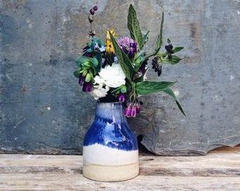 Ceramic bud vase, small blue vase, handmade pottery