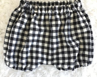 Black and white checkered plaid flannel shorts - shorties - bubble shorts