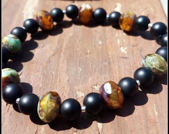Onyx and brown/green czech glass bracelet
