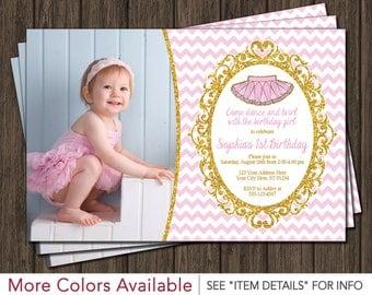 Tutu Birthday Invitation   Ballerina Birthday Invitations   Pink and Gold Ballet Birthday Party
