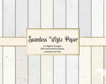 Seamless White Paper Textures, tileable paper backgrounds, repeating pattern white digital paper patterns, instant download commercial use