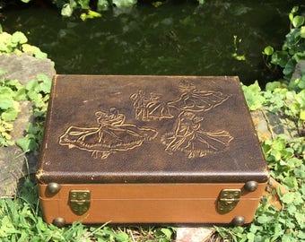 Vintage Record Player Case, Vintage Suitcase, Vintage Arthur Murray, Suitcase, Make-up Case, Storage