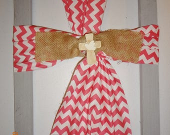 Burlap and Fabric Cross Picture - Pink & White Chevron Cross Picture