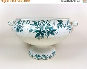 ON SALE Antique porcelain LARGE soup tureen bowl, French Vintage 1800s 1900s, Tea stained ironstone, eared, footed, Napoleon, Louis, France
