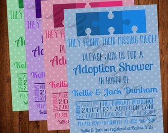 Missing Puzzle Piece Adoption Shower Invitation Printable (Blue, Pink, Purple, or Green Available!)