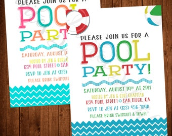 Pool Party Invitation Available in Your choice of Colors! (Printable, Summer, Beach Ball, Water, Colorful)