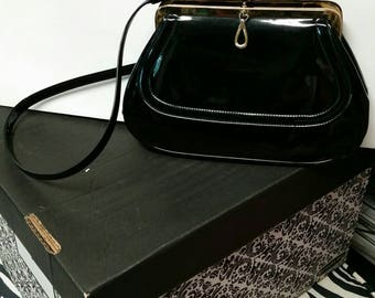 Crown Lewis Vintage handbag black patent leather handbag vintage Lewis handbag shoulder strap